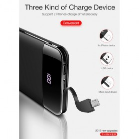 CAFELE Power Bank LED Indicator 5200mah with Built-in Micro USB Cable - Black - 11