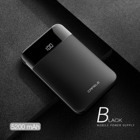 Baterai & Charger - CAFELE Power Bank LED Indicator 5200mah with Built-in Micro USB Cable - Black