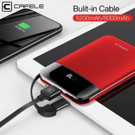 CAFELE Power Bank LED Indicator 5200mah with Built-in Micro USB Cable - Black - 7