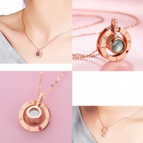 MOONBIFFY Kalung Wanita 100 Word I Love You Projection - Golden - 3