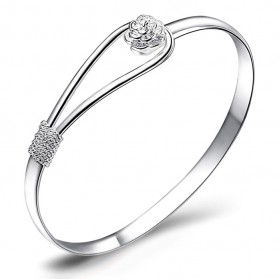 Romantic Flower Bracelet 925 Sterling Silver / Gelang Wanita - White
