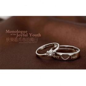 Men And Woman Heart Shaped Couple Ring Korean Version for Male / Cincin Pasangan - White - 2