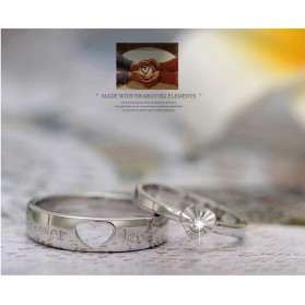 Men And Woman Heart Shaped Couple Ring Korean Version for Male / Cincin Pasangan - White - 3
