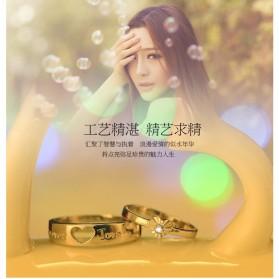 Men And Woman Heart Shaped Couple Ring Korean Version for Male / Cincin Pasangan - White - 4