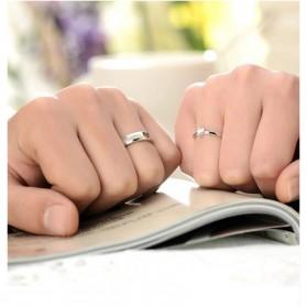 Men And Woman Heart Shaped Couple Ring Korean Version for Male / Cincin Pasangan - White - 5