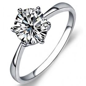 Zircon Six Claw Ring 9 / Cincin Berlian - White