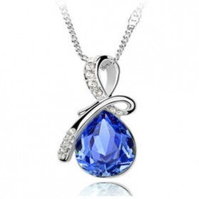 Queen Angel Teardrop Crystal Pendants Necklace 925 Sterling Silver / Kalung Wanita - Dark Blue