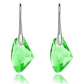 Swan Crystal Earrings Drop Diamond 925 Sterling Silver / Anting Wanita - Green