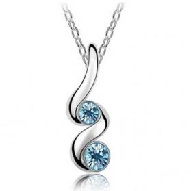 Austrian Jewelry Crystal Pendants 925 Sterling Silver / Kalung Wanita - Ocean Blue