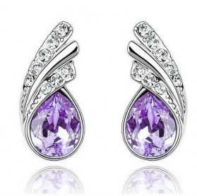 Perhiasan - Angel Wings Crystal Earrings 925 Sterling Silver / Anting Wanita - Purple
