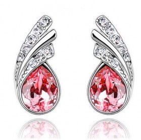 Angel Wings Crystal Earrings 925 Sterling Silver / Anting Wanita - Red