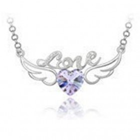 Love Angel Wings Crystal Necklace 925 Sterling Silver / Kalung Wanita - Purple