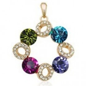 Kalung Liontin Wanita Crystal Full of Diamond Drop Pendant Necklace 925 Sterling Silver - Multi-Color