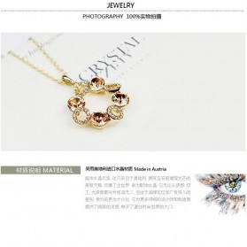 Kalung Liontin Wanita Crystal Full of Diamond Drop Pendant Necklace 925 Sterling Silver - Multi-Color - 4