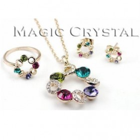 Kalung Liontin Wanita Crystal Full of Diamond Drop Pendant Necklace 925 Sterling Silver - Multi-Color - 5