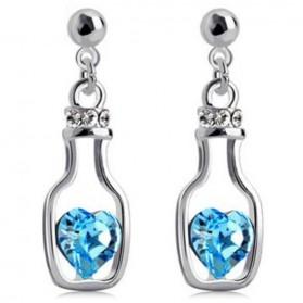 Wishing Bottle Earrings Crystal 925 Sterling Silver / Anting Wanita - White/Blue