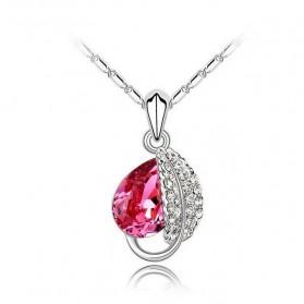 Acacia Leaves Crystal Necklace 925 Sterling Silver / Kalung Wanita - Rose - 1