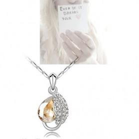 Acacia Leaves Crystal Necklace 925 Sterling Silver / Kalung Wanita - Rose - 2