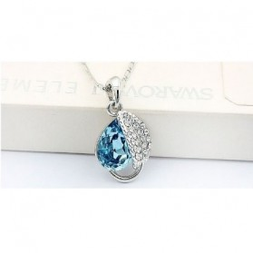 Acacia Leaves Crystal Necklace 925 Sterling Silver / Kalung Wanita - Rose - 3