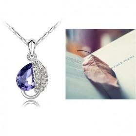 Acacia Leaves Crystal Necklace 925 Sterling Silver / Kalung Wanita - Rose - 4