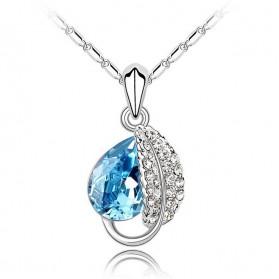 Acacia Leaves Crystal Necklace 925 Sterling Silver / Kalung Wanita - Rose - 5