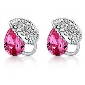 Acacia Leaves Crystal Earrings 925 Sterling Silver / Anting Wanita - Rose - 1
