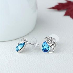 Acacia Leaves Crystal Earrings 925 Sterling Silver / Anting Wanita - Rose - 4