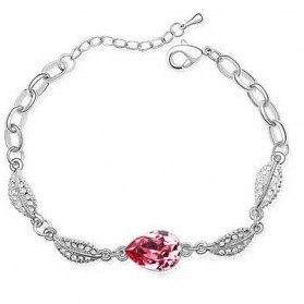Perhiasan - Acacia Leaves Crystal Bracelet 925 Sterling Silver / Gelang Wanita - Rose