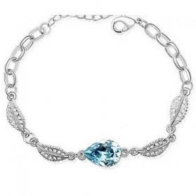 Acacia Leaves Crystal Bracelet 925 Sterling Silver / Gelang Wanita - Blue - 1