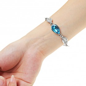 Acacia Leaves Crystal Bracelet 925 Sterling Silver / Gelang Wanita - Blue - 2