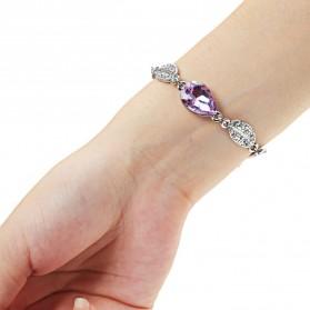 Acacia Leaves Crystal Bracelet 925 Sterling Silver / Gelang Wanita - Blue - 3