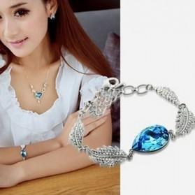 Acacia Leaves Crystal Bracelet 925 Sterling Silver / Gelang Wanita - Blue - 4