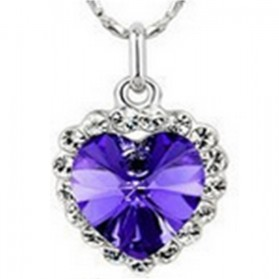 Heart Shaped Necklace 925 Sterling Silver / Kalung Wanita - Purple