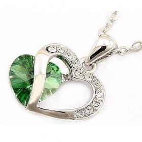 Kalung Liontin Wanita Double Heart Necklace 925 Sterling Silver - Green