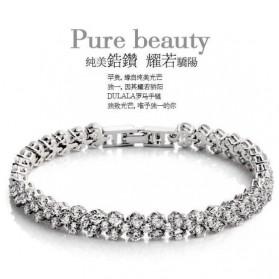 Full Diamond Bracelet White Gold / Gelang Wanita - White