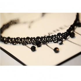 Hand Woven Lace Fringed Drop Necklace / Kalung Rajutan Wanita - Black