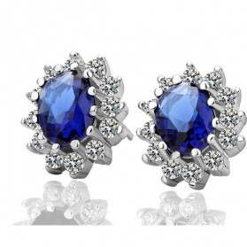 Princess Same Paragraph Sapphire Earrings / Anting Wanita - Blue