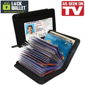 Lock Wallet Dompet Kartu Kredit Secure RFID Blocking - Black