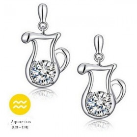 Zodiac Earrings Aquarius White Crystal 925 Sterling Silver / Anting Wanita - White