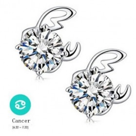 Zodiac Earrings Cancer White Crystal 925 Sterling Silver / Anting Wanita - White