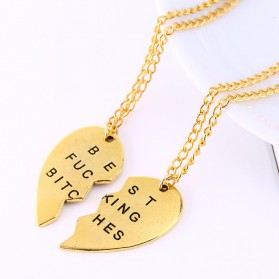 Kalung Liontin Terbaru - Broken Heart Best Fucking Bitch Necklace / Kalung Pasangan - Golden