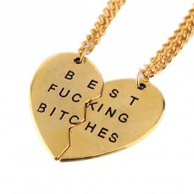 Broken Heart Best Fucking Bitch Necklace / Kalung Pasangan - Golden - 2