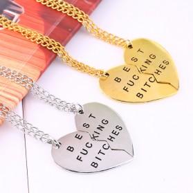Broken Heart Best Fucking Bitch Necklace / Kalung Pasangan - Golden - 3