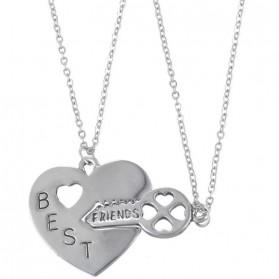 Kalung Pasangan Bentuk Hati dan Kunci / Couple Necklace - Silver - 2