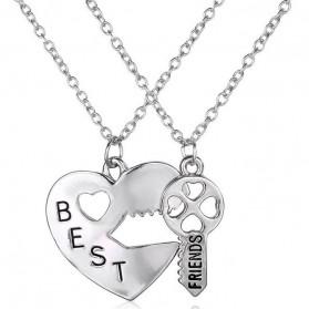 Kalung Pasangan Bentuk Hati dan Kunci / Couple Necklace - Silver - 3