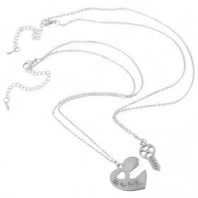 Kalung Pasangan Bentuk Hati dan Kunci / Couple Necklace - Silver - 4