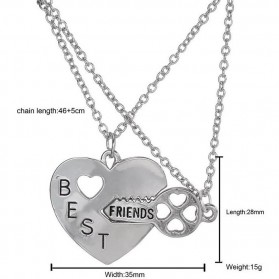 Kalung Pasangan Bentuk Hati dan Kunci / Couple Necklace - Silver - 5