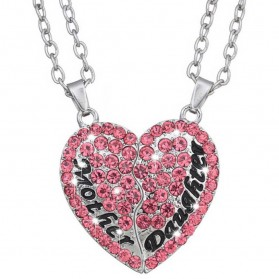 Kalung Pasangan Bentuk Hati Ibu dan Anak / Couple Necklace - Pink - 1