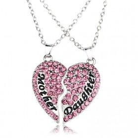 Kalung Pasangan Bentuk Hati Ibu dan Anak / Couple Necklace - Pink - 2