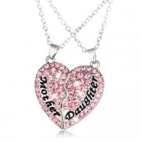 Kalung Pasangan Bentuk Hati Ibu dan Anak / Couple Necklace - Pink - 3